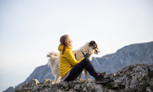Woman and dog sat on a mountain - Respite Care by Melin care